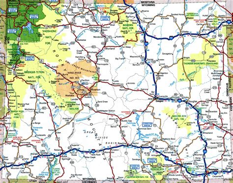 map of showing cities and towns large detailed tourist map of wyoming with cities and towns