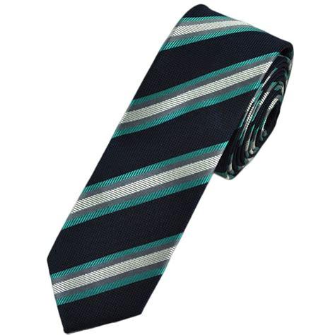 aqua blue navy silver striped tie from ties