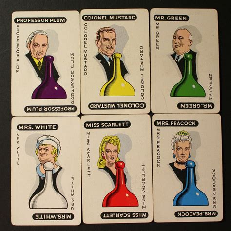 Clue Cards Template With 10 Suspects by Vintage Clue Character Cards