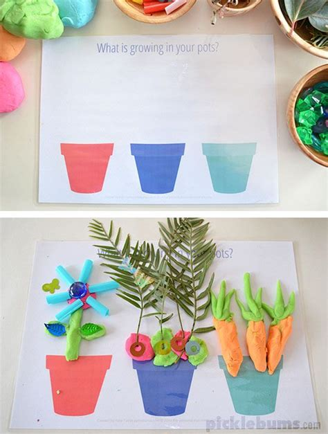 free printable spring playdough mats gardening and growing play dough mats free printable