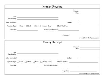 libreoffice templates receipt money receipts