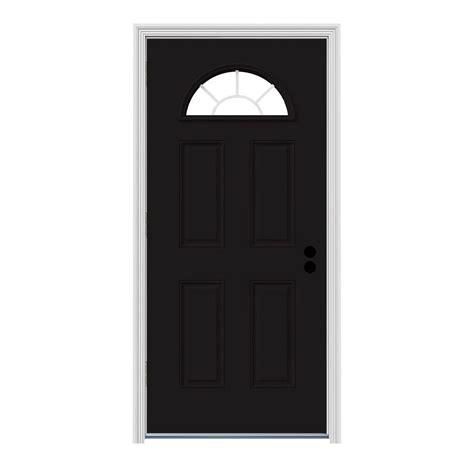 Jeld Wen 34 In X 80 In Fan Lite Black W White Interior 34 X 80 Interior Door