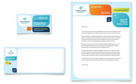 business cards letterhead templates cleaning services business card letterhead template design