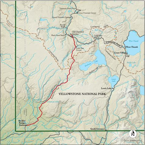 map of united states showing yellowstone national park best yellowstone national park hike trail map national