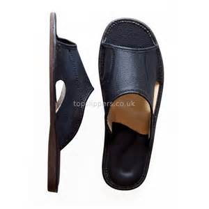 open toe black leather house slippers mules for men