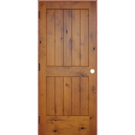 Pre Hung Solid Wood Interior Doors Pacific Entries 30 In X 80 In Rustic Prefinished 2 Panel V Groove Solid Knotty Alder Wood