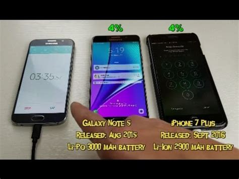 iphone 7 plus vs galaxy note 5 charging test 0 to 100 guess which charges faster