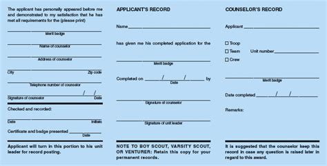 merit badge card template merit badge and application blue card procedure