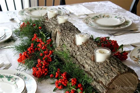 yesterfood rustic log centerpiece