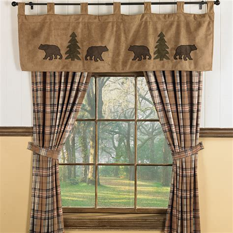 lodge decor curtains bear trees wildlife window curtains for cabins