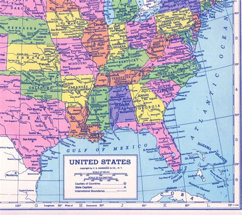 united states of america map with states and major cities colorful us map united states map large 1940s antique map of