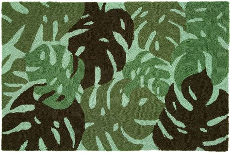 tropical leaves green accent rug