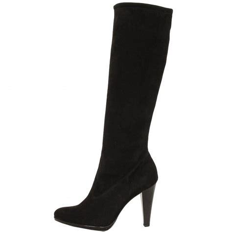 kaiser perigon black suede stiletto heel stretch boots