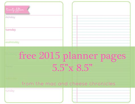free printable planner pages half size printable planner pages the mac and cheese chronicles