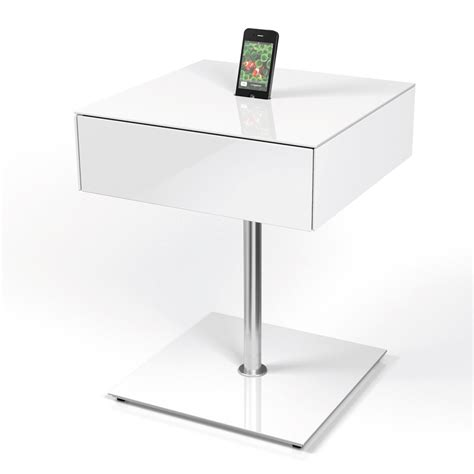 White Gloss Side Table Spectral Cockpit Cp02 Gloss White Side Table W Smartphone Dock And Drawer Spectral