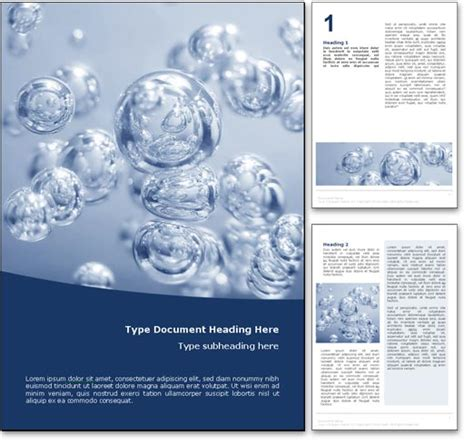 Royalty Free Abstract Bubbles Microsoft Word Template In Blue Microsoft Word Doc Templates