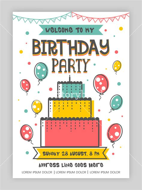 happy birthday invitation design birthday party invitation card or welcome design happy and