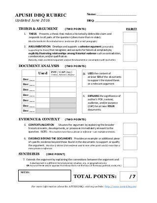 sle essay prompts college board new apush dbq rubric social studies essay questions sle essay and rubrics