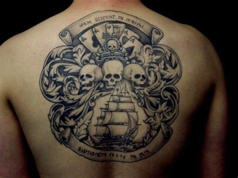 pirate flag tattoo pirate flag with cards skulls and ship