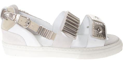 Sandal Heels Burberry 9320 48w toga pulla multi buckle sandal in metallic lyst