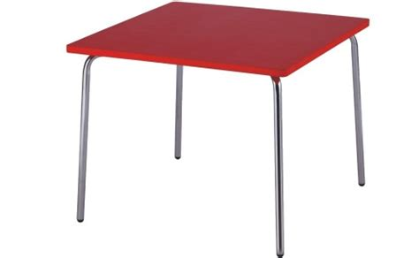 practical wood table chromed steel legs children table
