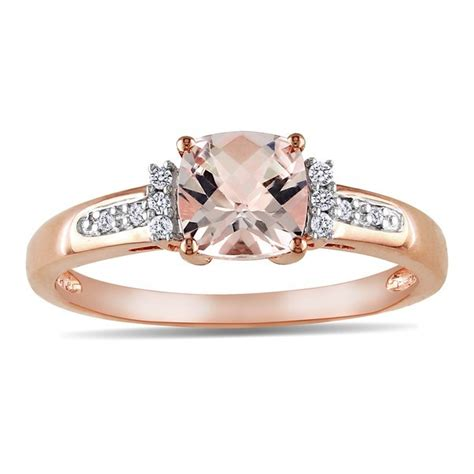 1 carat and morganite engagement ring in gold