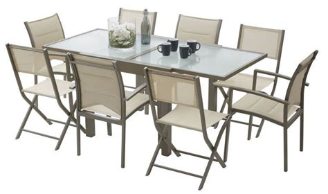 table et chaise de jardin en aluminium ensemble table chaises de jardin modulo finition taupe
