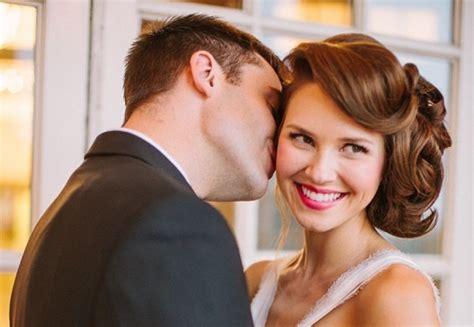 Vintage Inspired Wedding Hairstyles by Sleek Retro Inspired Wedding Hairstyle Wavy Updo