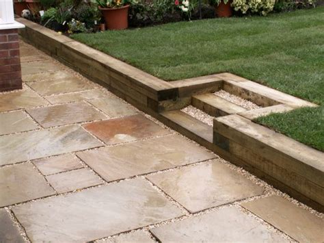 Cheap Reclaimed Railway Sleepers by Raised Lawn With Reclaimed Sleepers Diy For Home