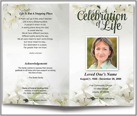 funeral leaflet template free free funeral program template for word 2003 template