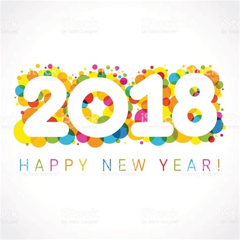 new year 2018 color happy new year 2018 colorul numbers stock vector
