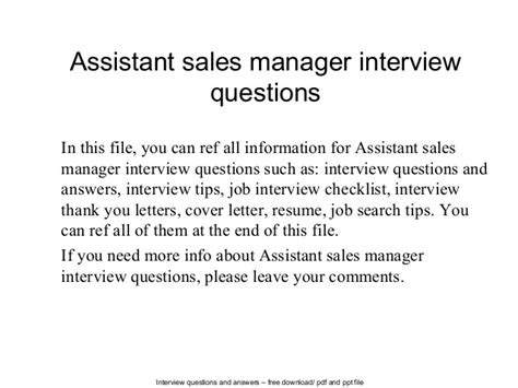 assistant sales manager questions