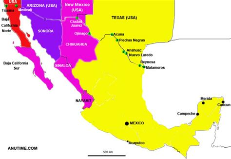 map of us and mexico time zones mexico timezones