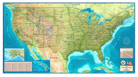 united states of america usa large wall map poster tipton s usa physical wall map maps