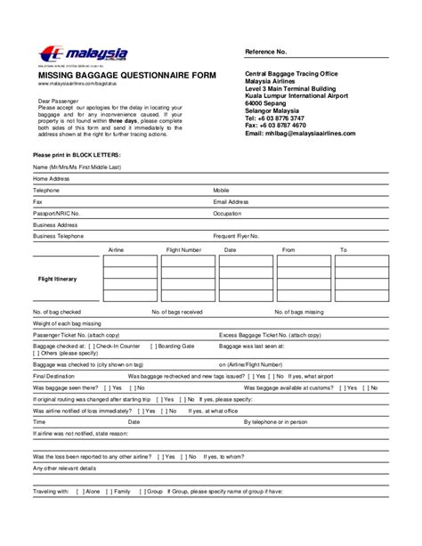united airlines lost baggage claim form latest photo of missing baggage questionnaire form malaysia airlines