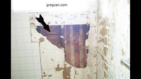bathtub  shower wall damage green board drywall  tile cracks youtube