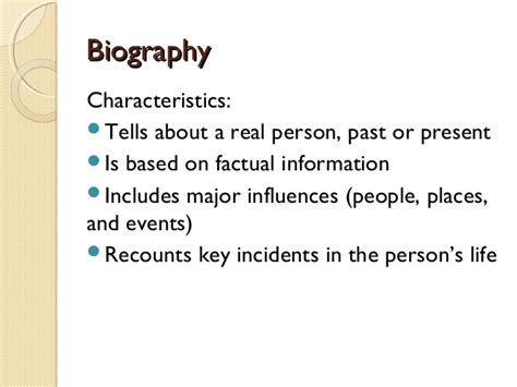 characteristics of biography and autobiography biography
