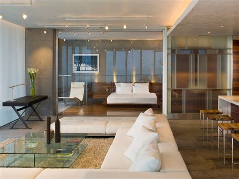 living room with glass wall glass wall between bedroom and living room what about privacy is it one way mirror