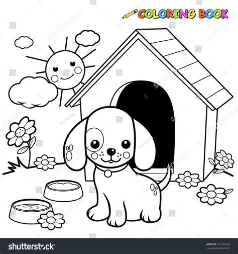 black white outline image dog standing stock vector