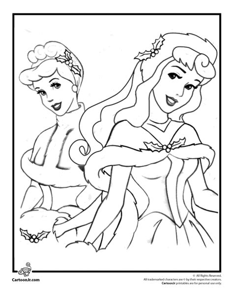 Disney Princesses Christmas Coloring Page Woo Jr Kids Disney Princess Winter Coloring Pages Printable