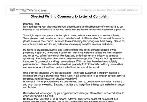 Complaint Letter Money Saving Expert Directed Writing Coursework Letter Of Complaint Gcse Marked By Teachers