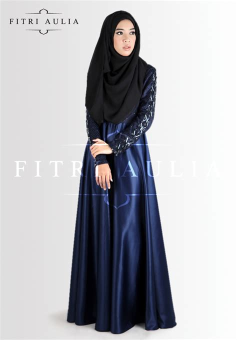 07272 Gamis Lirin Navy Baju Muslim Maxi Dress grey butterfly abaya and niqaab overhead abaya abayas muslim and religion