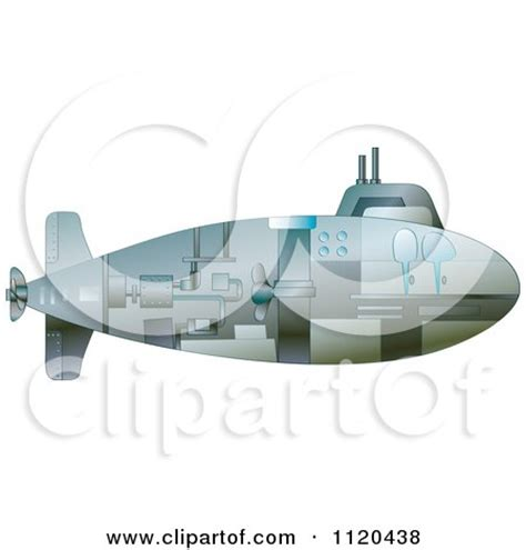 cartoon of a black and white submarine outline royalty