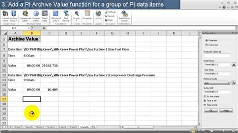 osisoft get historical pi data with the pi archive value function pi dl 2013 excel add in