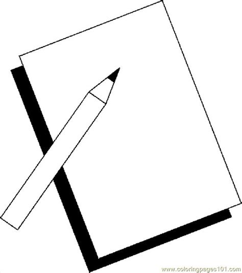 pencil paper 1 coloring page free school coloring