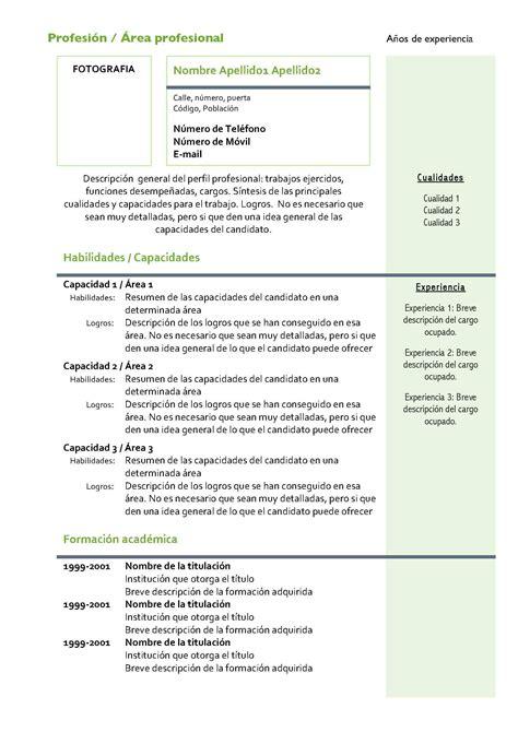 formatos de curriculum profesionales 2014 curriculum vitae modelo4c verde modelo curriculum