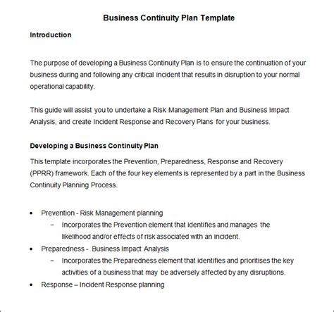 business continuity plan template free business continuity plan template 9 free word pdf