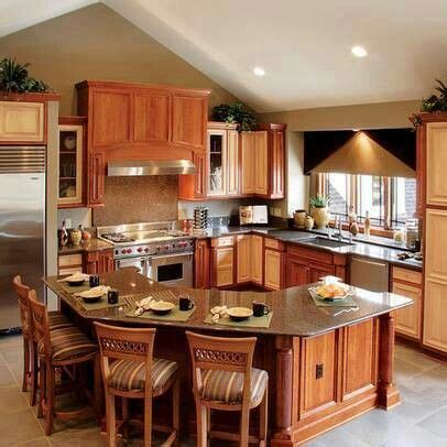 kitchen with l shaped island wood octagon bar counter for the home