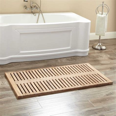 bathroom matting 47 quot x 24 quot rectangular teak shower mat wood bath mats