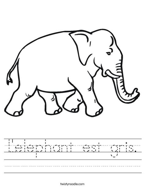 grey elephant coloring pages l elephant est gris worksheet twisty noodle